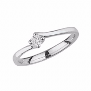 Platinum 0.1ct Solitaire Diamond Ring Four Claw twist syle mount